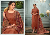 Nargis Pakistani Designer Classic Glace Cotton Embroidered Suit - AliShaif