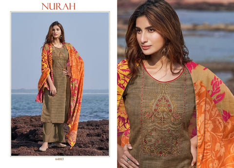 Nurah Designer Exclusive Pure Jam Cotton Embroidered Dress