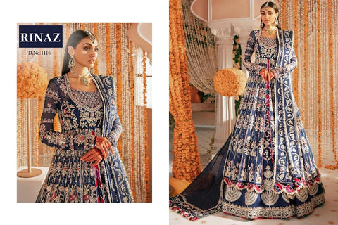 Rinaz Pakistani Designer Blue Gown Style Party Wear Dress