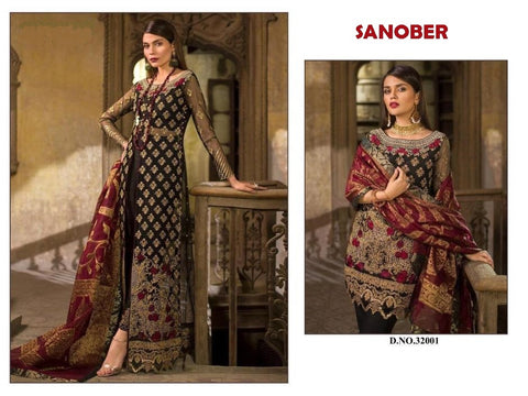 Sanober Pakistani Designer Dashing Net Embroidered Dress