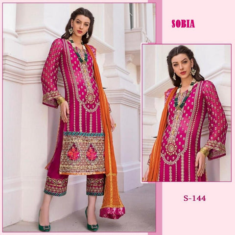Sobia Pakistani Designer Rani Color Embroidered Party Wear Dress