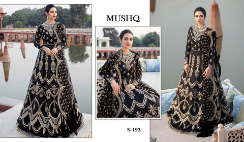 Mushq Pakistani Designer Black Hit Gown Style Dress