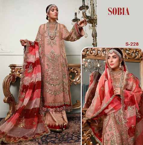 Sobia Pakistani Designer Hit Embroidered Party Wear Dress