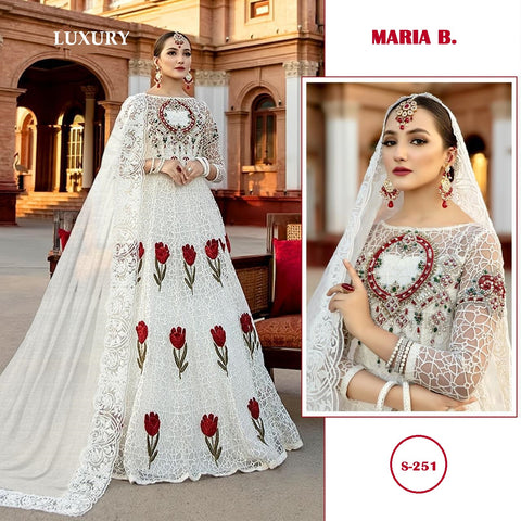 Maria B. Pakistani Designer White Net Embroidered Dress