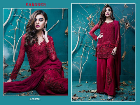 Designer Sanobar Red Pakistani Super Hit Party Wear Dress