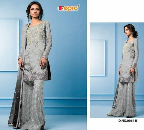 Sanober Pakistani Party Wear Net Embroidered Sharara Suit - AliShaif