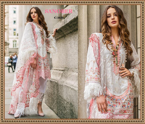 Sanober Pakistani Designer Hit White Festive & Party Wear Dress