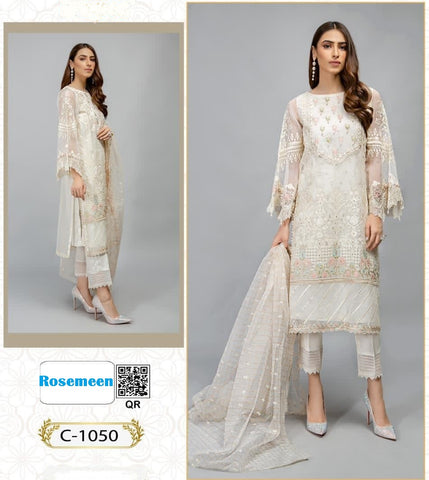 Sanober Pakistani Designer Classic White Ethnic & Festive Wear Dress
