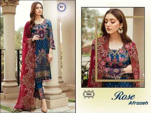 Rose Pakistani Designer Wedding & Party Wear Embroidered Dress