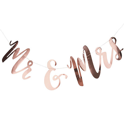 Mr And Mrs Wedding Banner- Rose Gold Metallic