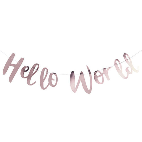 Hello World - Baby shower foiled bunting banner