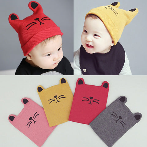 Cat Knitted Cap Beard With Ears For Baby