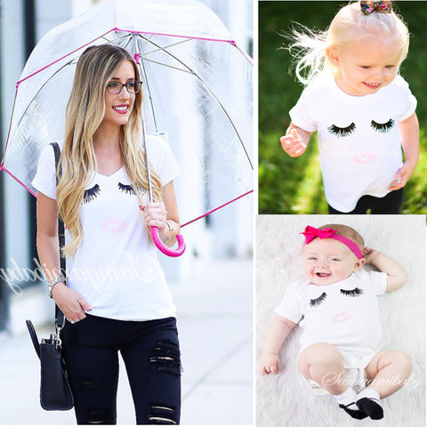 Mother And Daughter Clothes Cute Wink Pattern T Shirt