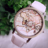 2018 New Fashion World Map Leather Casual Quartz Watches