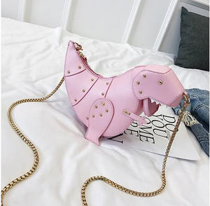 Trend Fashion 3D Dinosaur Design Rivets Pu Leather Girl's Chain Purse Shoulder Bag Tote Ladies Crossbody Mini Messenger Bag Flap