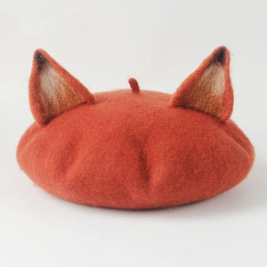 New  Hair Retro Women's Cute Fox Ear Beret Caps Wool Blend Casual Warm Painter Hat Handmade Nick Cat Ear Beret Hat Hot Gift