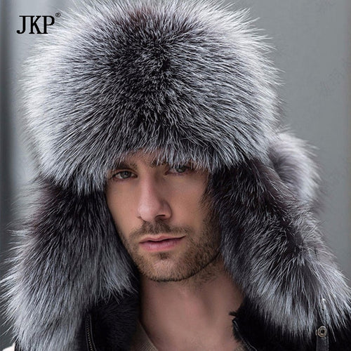 Russian leather bomber leather hat men winter hats with earmuffs trapper earflap cap man real raccoon fur black fox hatska