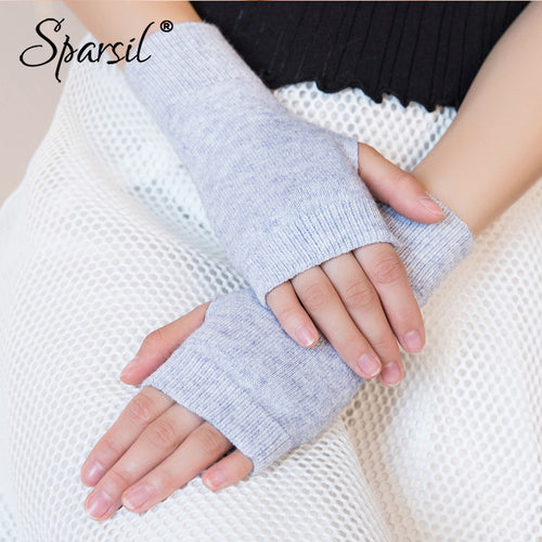 Sparsil Women Winter Knitted Fingerless Wool Glove Warm Solid Stretch Half Mitten Lady Knitting Short Cashmere Gloves For Female