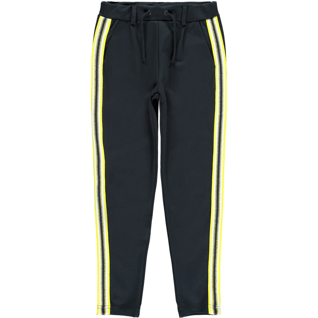Dasuba Ida Kid Girl  navy Sweat pants with yellow stripes age 5 to 12 years by Name It.