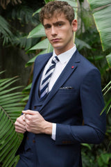 Ronaldo Navy 3 Piece Suit With Fine Pin Stripe & Double Breasted Scoop Neck Waistcoat by Benetti