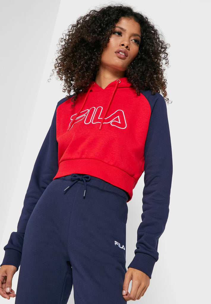 Valeria Colour Block Chinese Red/ Peacoat/White Hoodie by Fila. LW911135