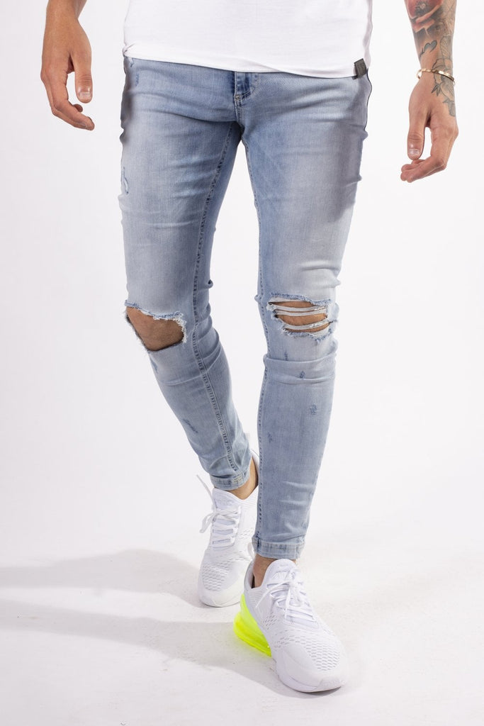 Ripped Knee Light Skinny Jeans