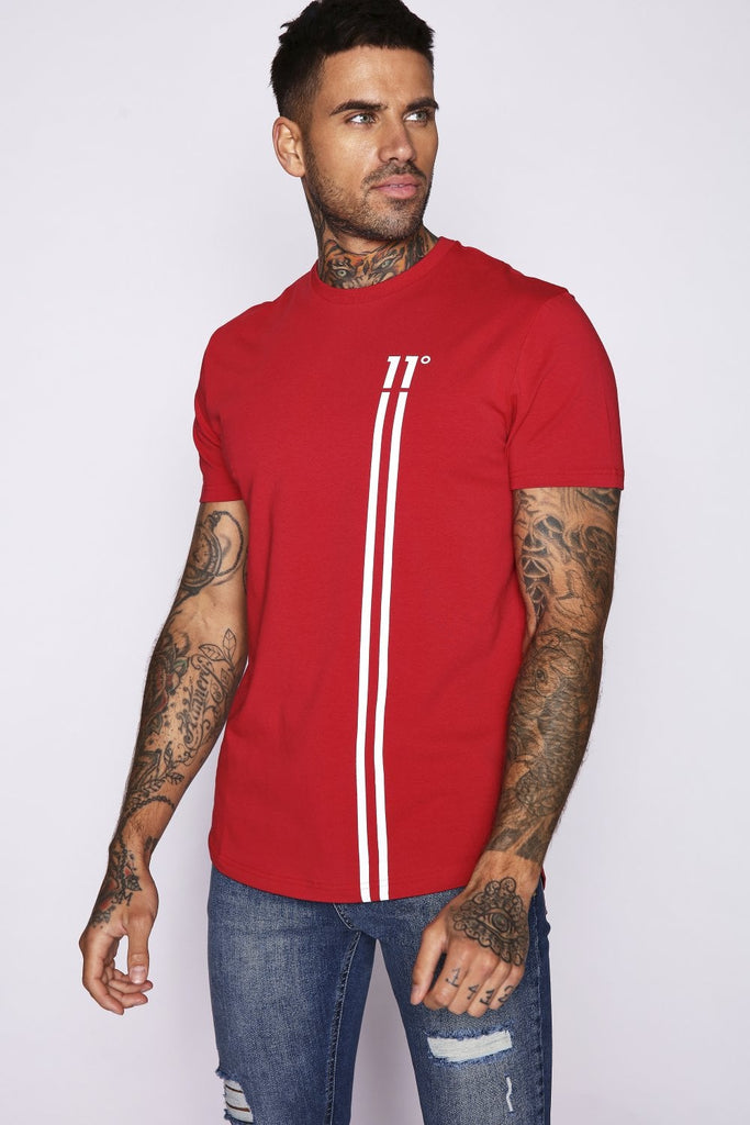 Men's Red Stripe Logo T-Shirt by 11 Degrees