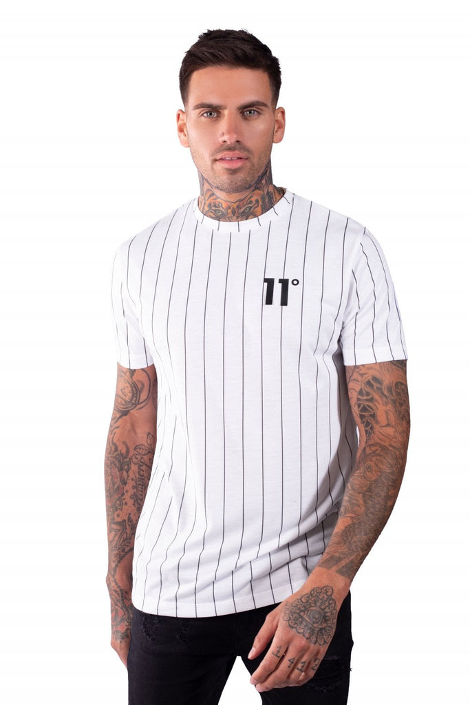 11 Degrees White/Black Short Sleeve Stripe Tee