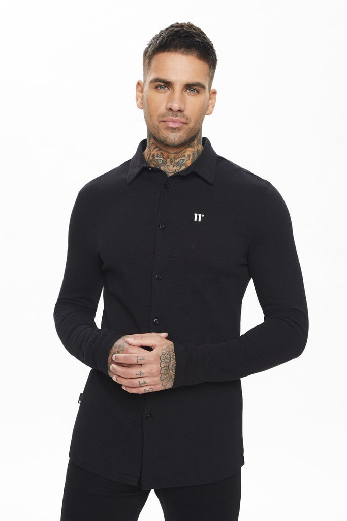 Men's Textured Jersey Muscle Fit Black Shirt
