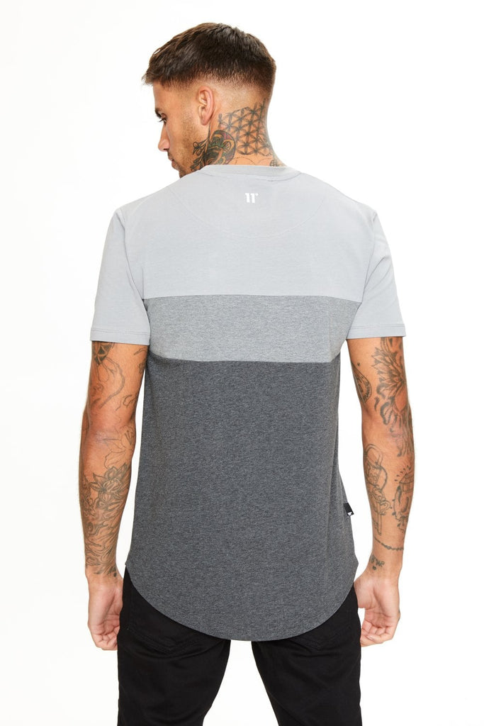11 Degrees Triple Panel Short Sleeve T-Shirt - Anthracite Marl/Mid Grey/Silver