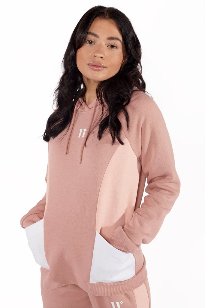 colour block overhead Blush Pink  Womens hoodie
