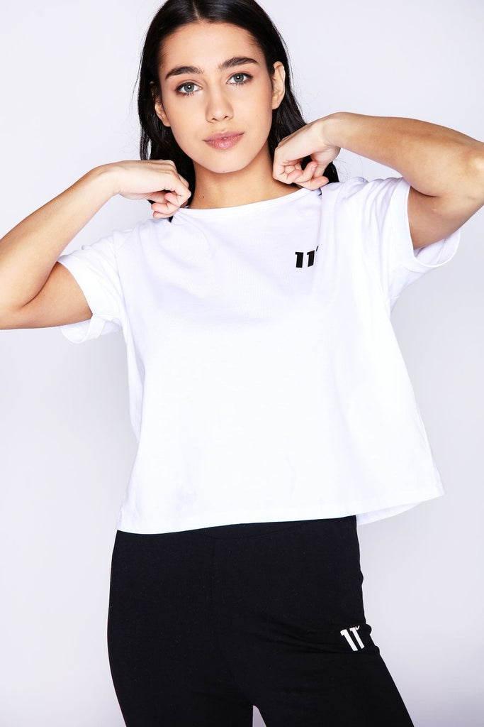 Core Crop White Short Sleeve Women's Tee by 11 Degrees