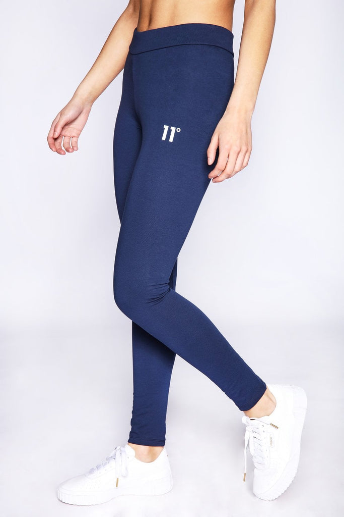 Logo Navy Leggings by 11 Degrees Womens