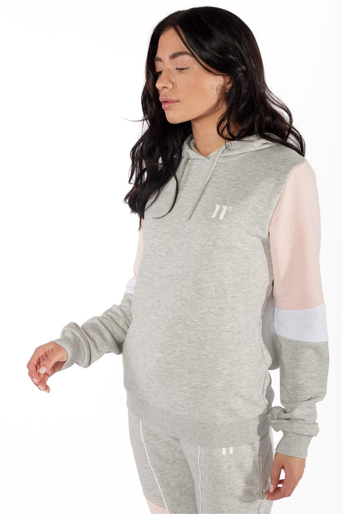 Panel Pullover Grey Marl  Womens Hoodie by 11 Degrees