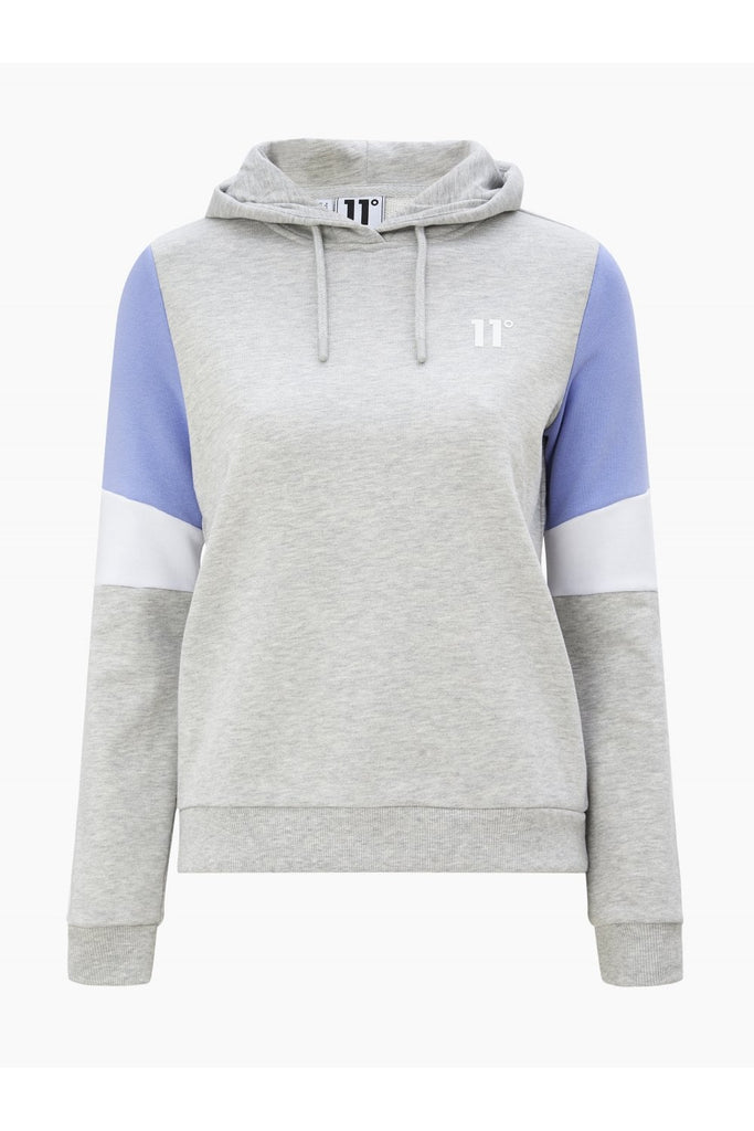 Women's Panel Pullover Hoodie Grey Marl by 11 Degrees