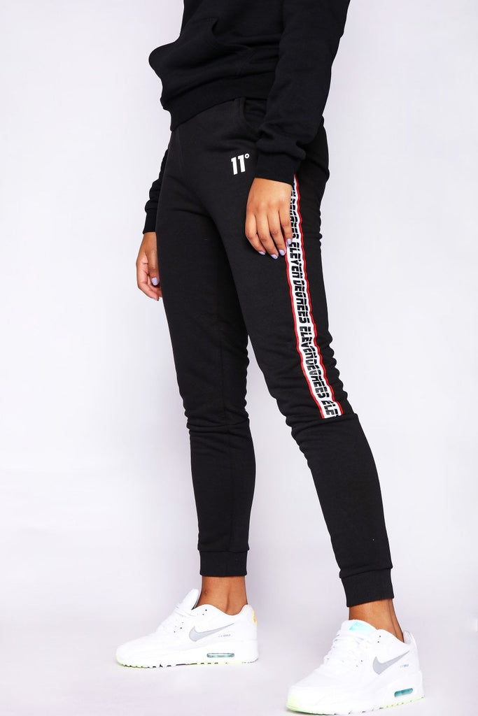 Women's Branded Taped Wide Leg Black Jogger