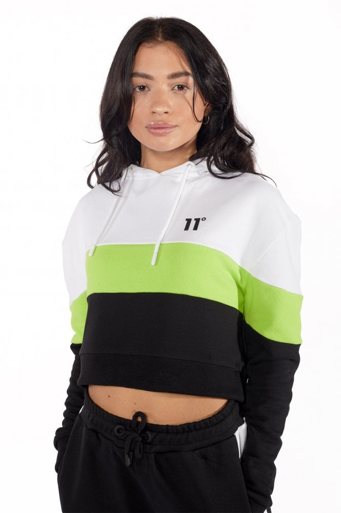 Cropped Panel Pullover Black/lime/white Hoodie
