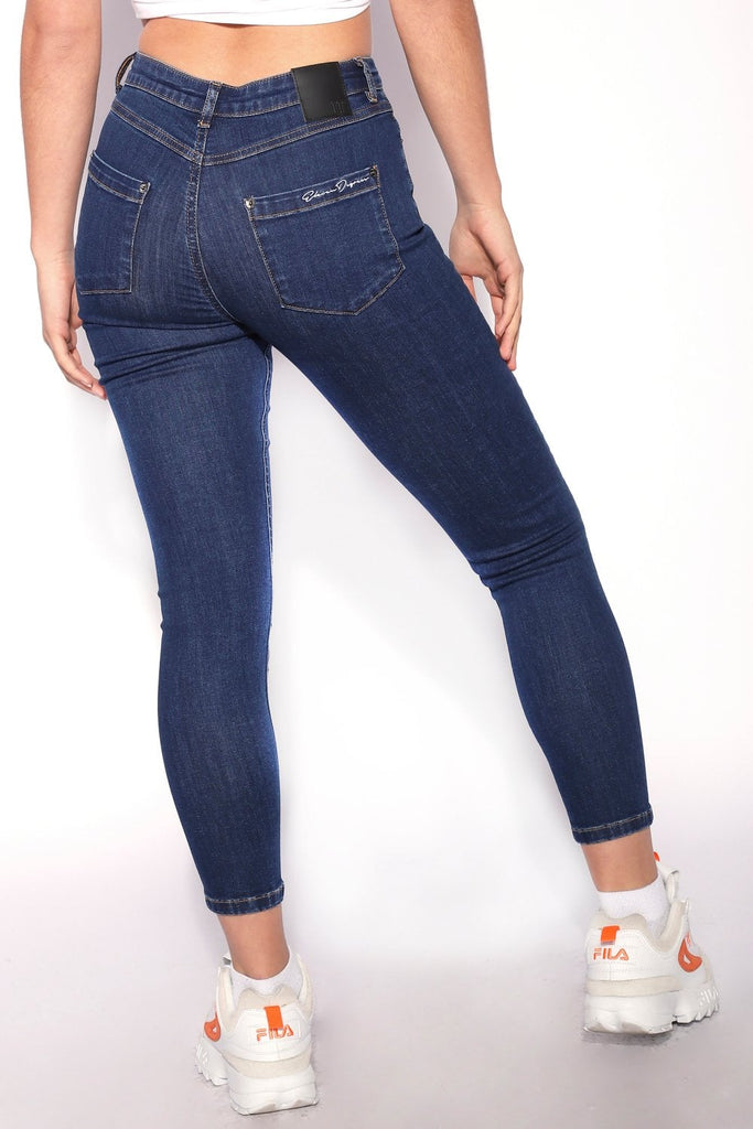 High Waisted Super Indigo Wash Skinny Jeans