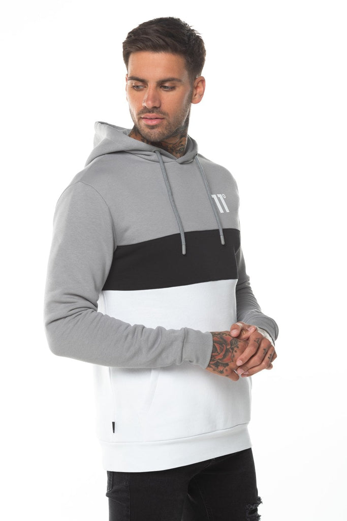 11 Degrees Triple Panel Pullover Hoodie – Silver/White/Black.