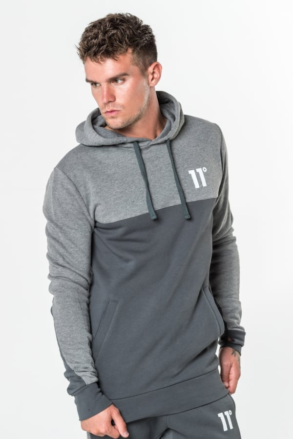 c796543d7e Block Pull Over Hoodie - Smoke & Charcoal Marl - 11 Degrees Ireland ...