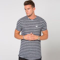 Stripe Short Sleeve T-Shirt - Light Grey & Black By 11 Degrees