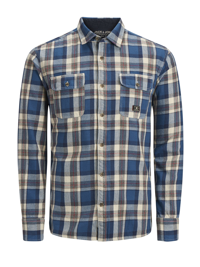 JPRLuke Worker Slim Fit Estate Blue Check Shirt by Jack Jones Premium
