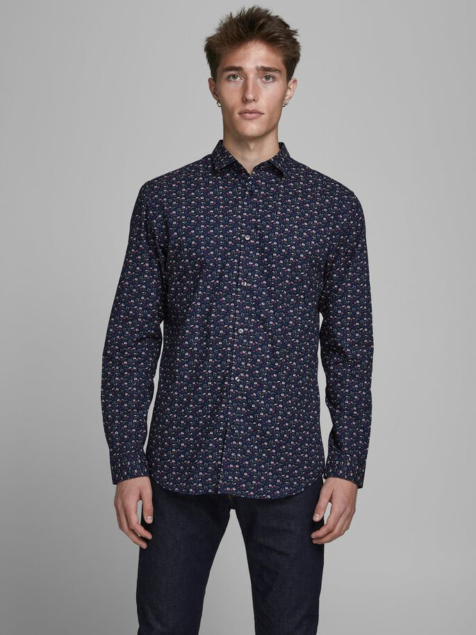 Blackpool Mens Slim Fit Long Sleeve all over print Navy Shirt