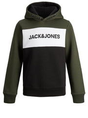 Logo Blocking Forrest Night Over the Head boys Hoodie