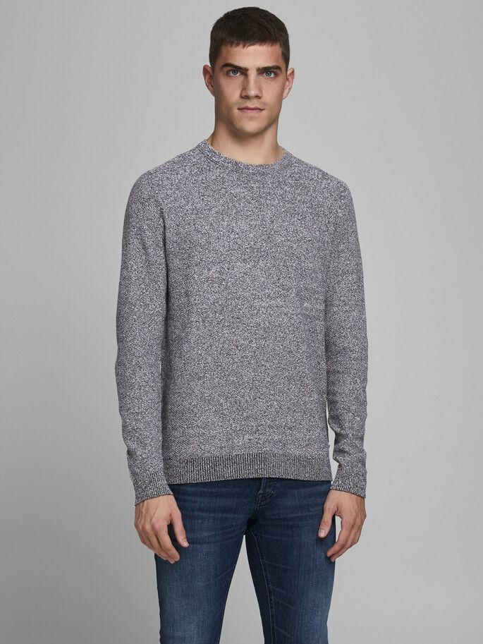 Aaron Black Detail Crew Neck Men's Knit