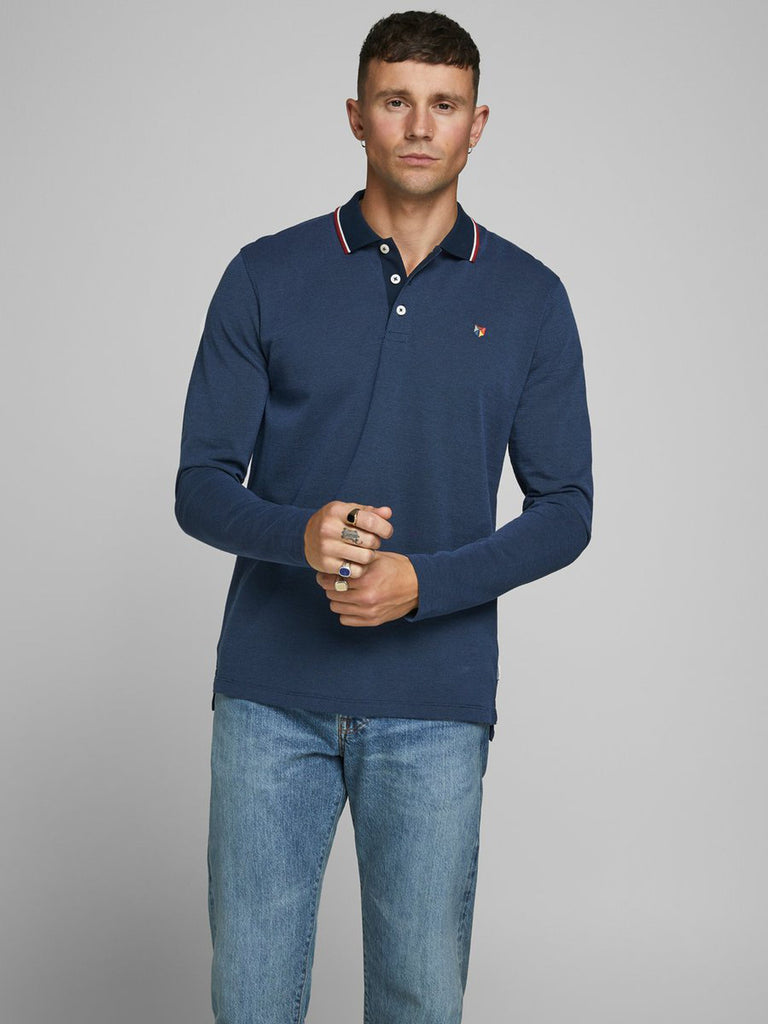 Win Pique Polo Long Sleeve navy