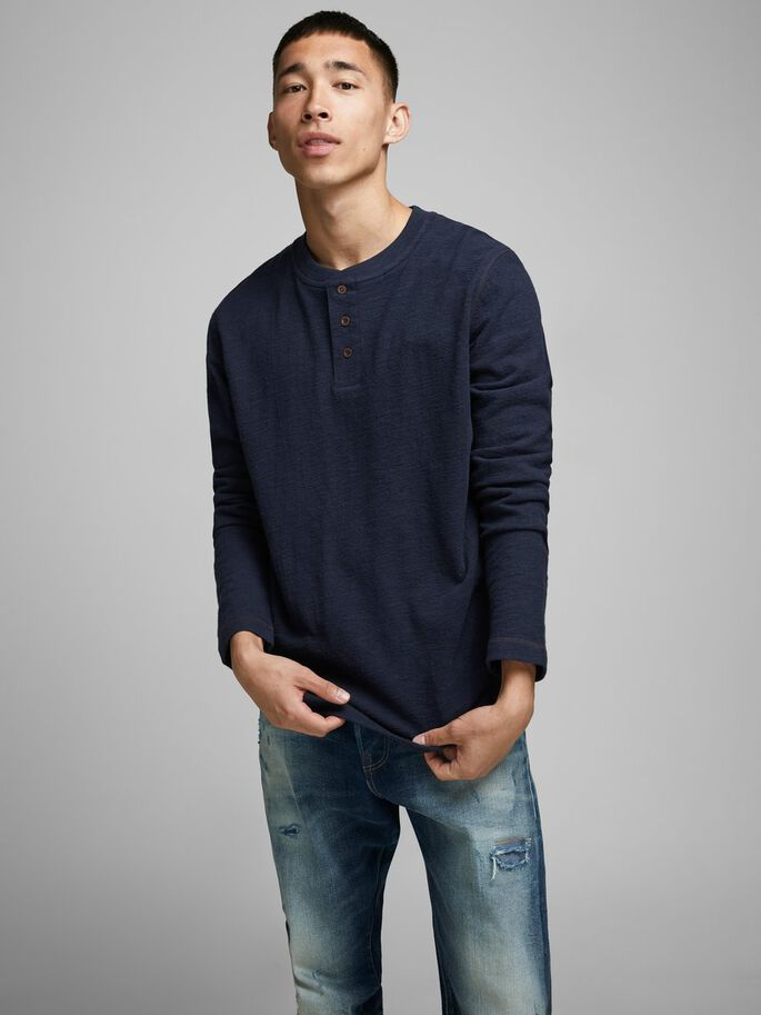 Ray Long Sleeve Navy Henley Tee