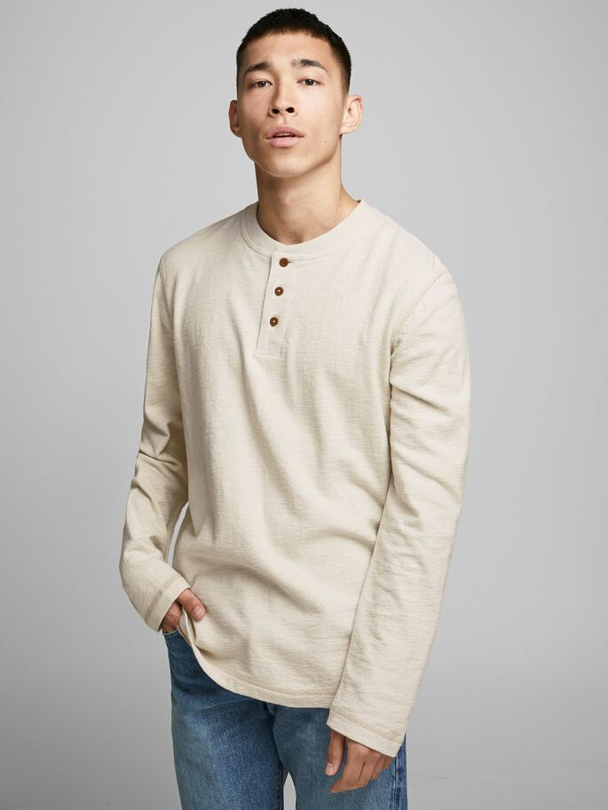 Ray Long Sleeve Rainy Day Colour Henley Tee