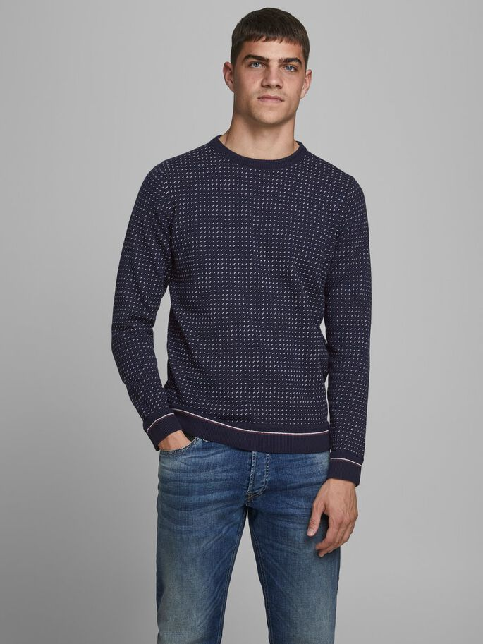 Casper Crew Neck Maritime Blue Knit
