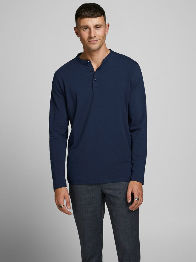 Benjamin Long Sleeve Navy Grandad Top